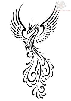 Black Phoenix Tattoo Design - A bit symmetrical through the wings for my taste, but this would be fun to henna...maybe onto a drum?
