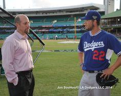 John Smoltz speaks with Clayton Kershaw Los Angeles Dodgers vs Australia 3/20/14 LAD-4,Aus-2 by Jon SooHoo