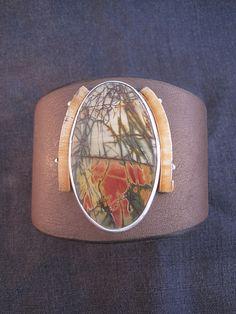 Silver Bracelet With Initial Info: 4175629153 Bohemian Jewellery, Funky Jewelry, Leather Cuffs, Leather Jewelry, Cuff Bracelets, Bangles, Mixed Media Jewelry, Primitive, Jewelry Design
