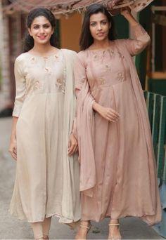 Beautiful Silk Kurtis with beautiful embroidery embellishments. Salwar Designs, Kurta Designs Women, Kurti Designs Party Wear, Pakistani Formal Dresses, Pakistani Outfits, Indian Dresses, Party Wear Dresses, Casual Dresses, Fashion Dresses
