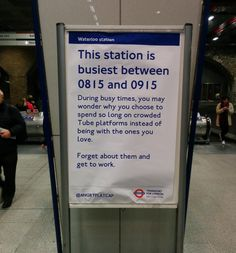Cheeky Little Sign On London's Tube Wins The Morning Commute : huffpost