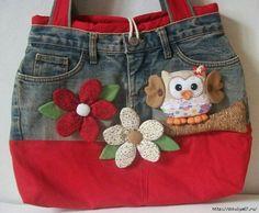 Bolso vaquero blue jean purse with owl Jean Crafts, Denim Crafts, Diy Jeans, Bag Quilt, Denim Purse, Denim Ideas, Recycled Denim, Quilted Bag, Fabric Bags