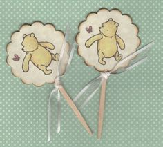 Winnie The Pooh Baby Shower Birthday Cupcake Toppers / Cake Slice Toppers / Cupcake Picks / Gender Neutral / Vintage Style - Set of 12