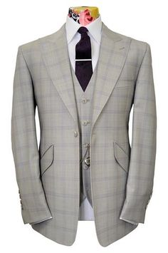 The Morgan Alabaster White Suit with soft Lilac Windowpane Check