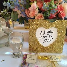 i DIY'd these gold glitter frames and hand wrote beatles quotes as our table numbers :)