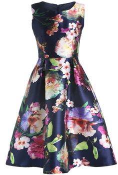 SheIn offers Navy Magaschoni Round Neck Watercolor Sleeveless Patterned Floral Flare Dress & more to fit your fashionable needs. Modest Dresses, Pretty Dresses, Beautiful Dresses, Casual Dresses, Fashion Dresses, Summer Dresses, Flare Dress, Dress Up, Manga Floral