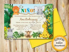 Editable baby shower welcome sign safari jungle animals editable spanish baby shower invitation boy safari jungle animals instant download editable in adobe reader diy printable 5x7 solutioingenieria Choice Image
