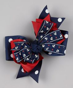 Take a look at this Navy Nautical Bow Clip by Bubbly Bows on #zulily today!