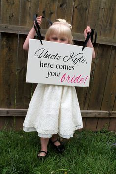"""10"""" x 16"""" Wooden Wedding Sign:  DOUBLE Sided SIGN Uncle, here comes your bride and Mr. & Mrs. Last Name Est. Date"""