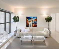 My painting 'In Love'  Beautiful in this living room Sold