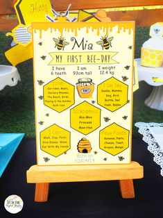Great for Baby Showers, Gender Reveal's, or Birthday Parties, your guests will love my cute Honey Bee Collection. Personalised just for you to make your celebration extra special. Baby Shower Favors Girl, Baby Shower Cupcakes, Baby 1st Birthday, Boy Birthday Parties, Birthday Ideas, Bee Party, Bee Theme, Milestone Birthdays, Poster