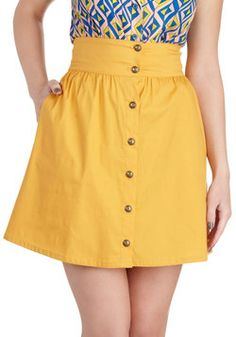 Curry Your Enthusiasm Skirt, #ModCloth I have a serious love of mustard coloured things right now.