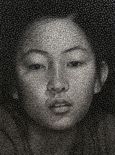 Thread Portraits by Kumi Yamashita. Remarkable pictures, constructed using a whiteboard, hundred of pins, and one continuous piece of black thread