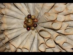 How to make your own Christmas Wreath - Vintage book paper decorations Christmas Wreaths, Christmas Crafts, Christmas Ornaments, Book Page Wreath, Paper Dahlia, Beautiful Christmas Decorations, Wreath Crafts, Wreath Ideas, Paper Cones