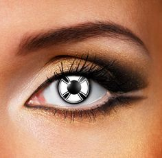 Make a bold statement with these white colored contact lenses, perfect for all occasions. The white cross design set on a black background will define your eyes and will completely change your entire image. Transform your look with crazy Contact Lenses.