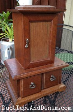BEFORE this thrift store jewelry cabinet was painted with chalk type paint | DuctTapeAndDenim.com
