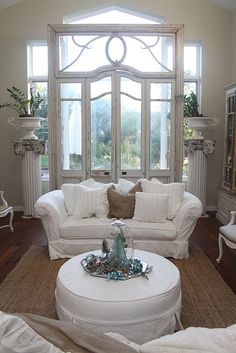 vintage salvaged french door frame in front of large window, nice focal point