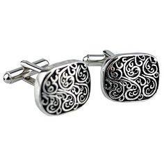 Fleur-de-lis Black and White Enamel Square Cufflinks - List price: $20.95 Price: $16.95 Saving: $4.00 (19%)
