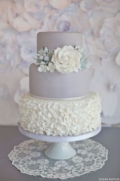 Dove Grey Wedding Cake | by Sugar Ruffles. This with baby pink flowers would be stunning
