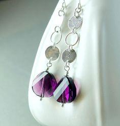 Purple Swarovski Earrings Sterling Silver Long by hildes, $26.00