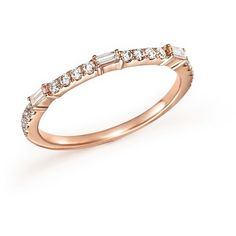 Diamond Round and Baguette Stackable Band in 14K Rose Gold, .30 ct. (25 505 UAH) ❤ liked on Polyvore featuring jewelry, rings, 14k ring, diamond band ring, 14k rose gold ring, band rings and rose gold stackable rings