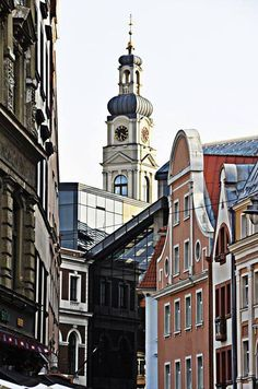 Roofs and towers of Old Riga.