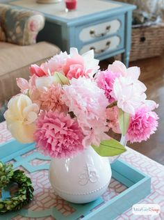 Rosy, translucent tissue paper packs an ethereal punch when layered into bursting blooms. Get the tutorial at Atta Girl Says »  - GoodHousekeeping.com