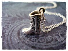 Tiny Cowboy Boot Necklace  Sterling Silver by EvelynMaeCreations