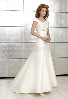 Satin A-Line Beaded Scoop Neckline Cap Sleeves Wedding Dress
