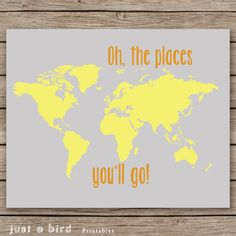 16x20 nursery decor, Oh the places you'll go - orange gray yellow nursery, world map print kids room art, map poster print- INSTANT DOWNLOAD