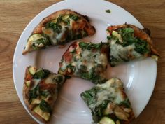 Claire's Spinach, Chicken and Zucchini Pizza on Na'an bread