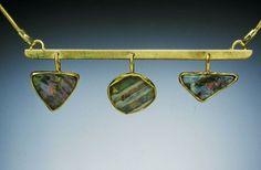 necklace, gold, opals, Carolyn Bensinger