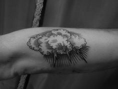 Thunder cloud with lightning tattoo on the arm   Lyam Sparks at Shangri La in London, UK