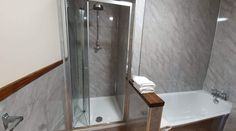 Room 11 - En-suite bathroom, with separate bath and shower. Country Hotel, Country House Hotels, Cornwall Hotels, Log Fires, Hotel Stay, Flagstone, Ceiling Beams, Stone Flooring, Fine Dining