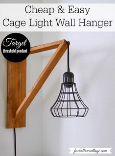 Rout a channel along the top arm and on the back side of the wall plate to hide the cord. I like this better than the designs with exposed cords. -- DIY home decor - make a wood cage light wall hanger