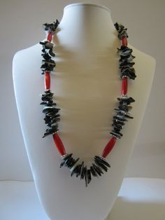 Black lip shell long  necklace with Red Wood long beads by yasmi65, $30.00