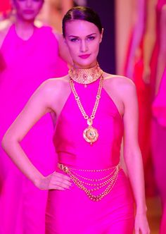 A model walks the ramp for Azva by World Gold Council, India Bridal Fashion Week 2013