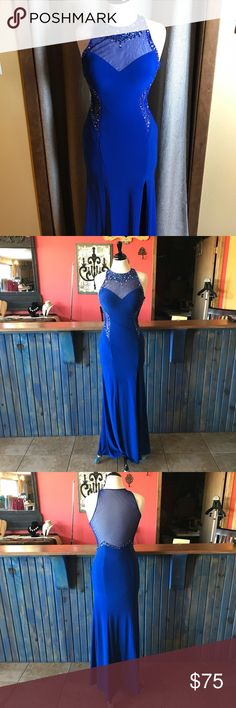Prom dress Royal blue prom dress with thigh high slit. Embellished at neck & on sides, sheer cutouts on sides & back. Worn once, zipper & clasps are all in tact. Blondie Nites Dresses Prom