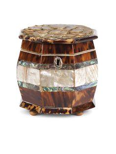 A 19th century tortoiseshell, engraved ivory and abalone shell veneered octagonal tea caddy