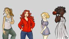 Cinder, Scarlet, Cress, Winter by moon-mirage