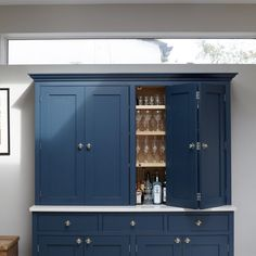 Wandsworth painted dresser painted in Farrow and Ball Hague Blue with Armac Martin Queslett Knobs