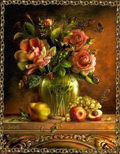 Imagini pentru cornelis van spaendonck still life flowers Art Floral, Beautiful Gif, Beautiful Gardens, Beautiful Flowers, Decoupage, Gif Rose, Still Life Flowers, Rose Cottage, Vintage Flowers