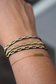 Handmade Miyuki dainty beaded bracelet - Lobster clasp - Friendship bracelet - Tiny bracelet - Delicate bracelet - Armcandy - Armparty - Newest Jewelry Models Bead Loom Bracelets, Beaded Bracelet Patterns, Bead Loom Patterns, Woven Bracelets, Jewelry Patterns, Beading Patterns, Ankle Bracelets, Gold Bracelets, Bead Earrings