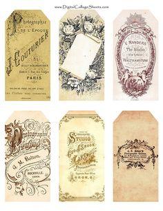 Free Vintage Tags Printable ~<3~
