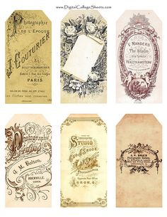 Free Printable Vintage Tags for Personal use Only