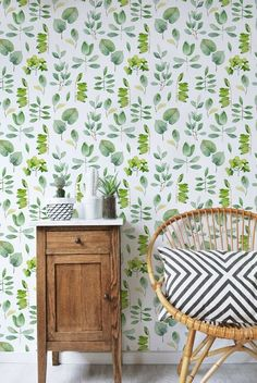 Nature Wallpaper: Hi everyone! Im Sylvie! I am glad to present you my floral inspired wallpapers a… Ideas Prácticas, Washable Paint, Watercolor Leaves, Types Of Painting, Nature Wallpaper, Happy Wallpaper, Bathroom Wallpaper, Wall Wallpaper, Peel And Stick Wallpaper