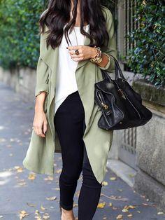 Green,Lapel,Long Sleeve,Trench,Coat