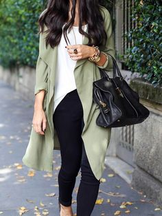 Green,Lapel,Long Sleeve,Trench,Coat