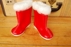 Vintage girls  baby  red  rain boots