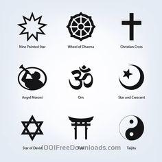 Gratis Vektorer: Sett med religiøse symboler |  Abstrakt